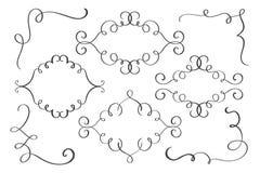 Stellen Sie Rahmen, Eckhand gezeichnete Flourish Kalligraphieelemente ein Vektorillustration auf einem weißen Hintergrund vektor abbildung