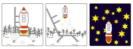 Stellen Sie Raketen an Stockfoto