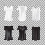 Stellen Sie realistische T-Shirts der Frauen s der Modelle - Kittel ein T-Shirt des kurzen Ärmels der Frauen s Lizenzfreie Stockbilder