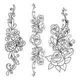 Stellen Sie Rosen-Blumen mit dekorativen Elementen ein lizenzfreie abbildung