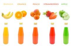 Stellen Sie Saft mit Früchten ein Lizenzfreies Stockbild
