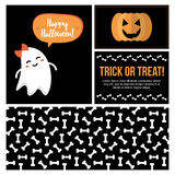 Stellen Sie, Sammlung nette flache Designkarten Halloweens, Fahnen, Aufkleber, Aufkleber für Netz und Druck ein Lizenzfreies Stockfoto