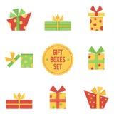 Stellen Sie, Sammlung nette flache Designweihnachtsgeschenkboxen ein Stockbild