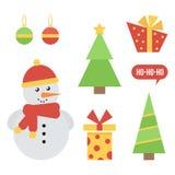 Stellen Sie, Sammlung nettes Weihnachten und Ikonen des neuen Jahres auf weißem Hintergrund ein Stockbilder