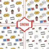 Stellen Sie, Sammlung vier einfachen modernen bunten Kinos, nahtlose Muster des Films ein Lizenzfreie Stockfotografie