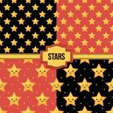Stellen Sie, Sammlung von vier bunten nahtlosen Mustern mit Sternen und emoji ein Stockfotografie