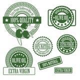 Stellen Sie Sammlungen Aufkleber für Olivenöl ein Lizenzfreies Stockbild