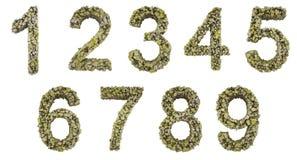Stellen Sie, Sammlungszahlen von den Steinen ein, die auf weißem Hintergrund lokalisiert werden Abbildung 3D Lizenzfreie Stockbilder