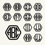Stellen Sie 1 Schablone ein, um ein Monogramm von drei Buchstaben zu schaffen Lizenzfreies Stockfoto