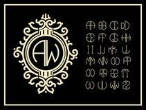 Stellen Sie Schablone ein, um Monogramme von zwei Buchstaben zu schaffen Lizenzfreies Stockbild