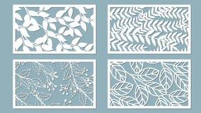 Stellen Sie Schablone für den Schnitt ein Palmblatt-Muster Laser-Schnitt Auch im corel abgehobenen Betrag Gesetzter Vektor des Au lizenzfreie abbildung