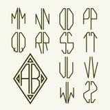 Stellen Sie 2 Schablonen von Buchstaben ein, um Monogramm zu schaffen Stockfoto