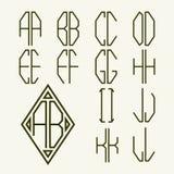 Stellen Sie Schablonen 1 von Buchstaben ein, um Monogramm zu schaffen Stockbild
