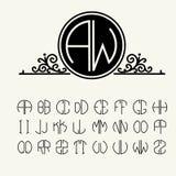 Stellen Sie Schablonenbuchstaben ein, um Monogramme zu schaffen Lizenzfreies Stockfoto