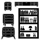 Stellen Sie Schattenbilder des Schranks, der Kästen und des Bücherregals ein Stockfoto