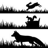 Stellen Sie Schattenbilder von Tieren im Gras ein. Lizenzfreies Stockbild
