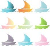 Stellen Sie Schiffe in der Farbe ein Stockfotos