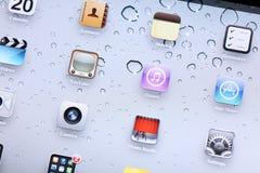 Stellen Sie Schirm auf iPad 2 an Stockfoto