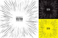 Stellen Sie Schlaggeschwindigkeitslinie ein Festliche Illustration mit Effektenergieexplosion Element der Auslegung Vektor Lizenzfreie Stockfotos