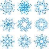 Stellen Sie Schneeflocken ein stock abbildung