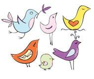 Stellen Sie sehr reizende Karikaturvögel in den Pastellfarben ein Stockfotos