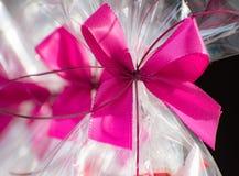 Stellen Sie sich in einer Zellophanfolie mit einem rosa Bogen dar Lizenzfreies Stockbild