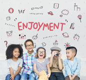 Stellen Sie sich Kinderfreiheits-Bildungs-Ikone Conept vor Stockbilder