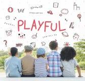 Stellen Sie sich Kinderfreiheits-Bildungs-Ikonen-Konzept vor Lizenzfreies Stockbild