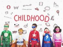 Stellen Sie sich Kinderfreiheits-Bildungs-Ikonen-Konzept vor Stockbild