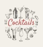 Stellen Sie Skizzencocktails ein und Alkohol trinkt Hand gezeichnete Illustration stock abbildung