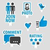 Stellen Sie Social Media-Aufkleber-Ikonen ein Stockbilder