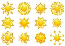 Stellen Sie Sonnenikone ein stockbild