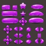 Stellen Sie Spiel ui ein Schließen Sie purpurrotes Menü von GUI der grafischen Benutzeroberfläche ab, um 2D Spiele zu errichten B Lizenzfreie Stockfotos