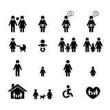 stellen Sie Symbolperson ein: Mutter, Vater und Kinder getrennt auf Weiß Stockfotografie