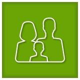 stellen Sie Symbolperson ein: Mutter, Vater und Kinder getrennt auf Weiß Lizenzfreie Stockbilder