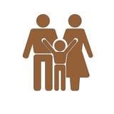 stellen Sie Symbolperson ein: Mutter, Vater und Kinder getrennt auf Weiß Stockfoto