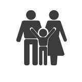 stellen Sie Symbolperson ein: Mutter, Vater und Kinder getrennt auf Weiß Stockbild