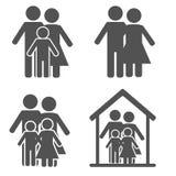 stellen Sie Symbolperson ein: Mutter, Vater und Kinder getrennt auf Weiß Lizenzfreie Stockfotos
