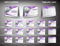Stellen Sie Tischkalenderschablonendesignvektor 2019 ein und Modell des Tischkalenders 3d, Abdeckungsdesign, Satz von 12 Monaten, Stockfoto