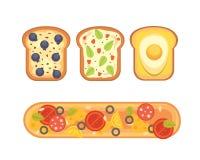 Stellen Sie Toast und Sandwichfrühstück Brottoast mit Stau, Ei, Käse, Blaubeere, Erdnussbutter, Salami, Fisch ein flach lizenzfreie abbildung