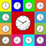 Stellen Sie Uhrikone, Vektorillustration, flaches Design ein EPS10 Stockfoto