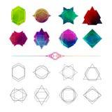Stellen Sie unbedeutende abstrakte geometrische Formen, Symbole ein Lizenzfreie Stockfotografie