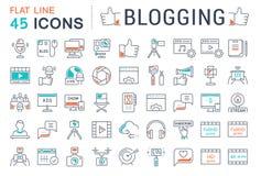 Stellen Sie Vektor-flache Linie die Blogging Ikonen ein Stockfotografie