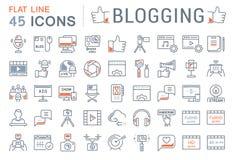 Stellen Sie Vektor-flache Linie die Blogging Ikonen ein Stockfoto