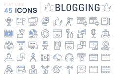 Stellen Sie Vektor-flache Linie die Blogging Ikonen ein Lizenzfreie Stockfotografie