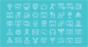 Stellen Sie Vektor-flache Linie die Blogging Ikonen ein Lizenzfreie Stockbilder