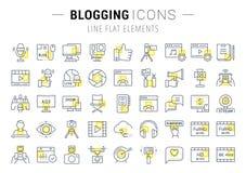 Stellen Sie Vektor-flache Linie die Blogging Ikonen ein Lizenzfreies Stockbild