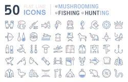 Stellen Sie Vektor-flache Linie die explosionsartig vermehrenden, fischenden ein und jagenden Ikonen Lizenzfreie Stockfotografie