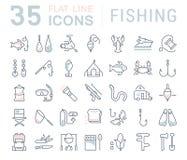 Stellen Sie Vektor-flache Linie Ikonen-Fischerei ein Lizenzfreies Stockfoto
