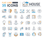 Stellen Sie Vektor-flache Linie Ikonen-Smart-Haus ein Stockbilder